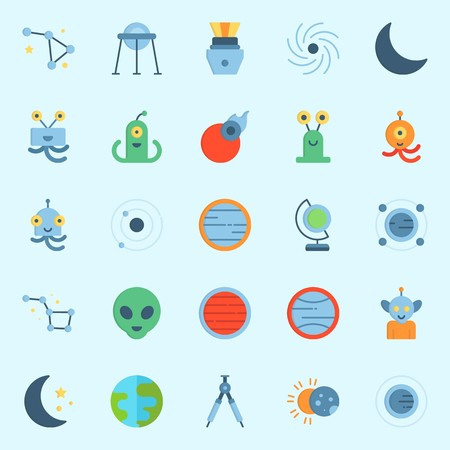 Icon set about universe with constellation, comet, compass, capsule, planet and moon.