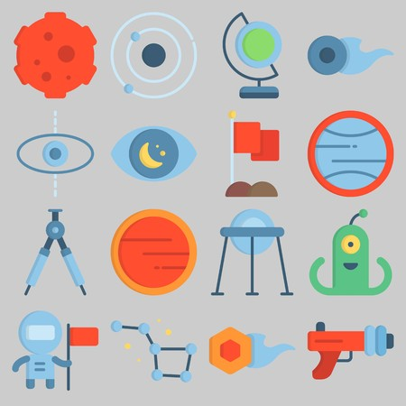 Icon set about Universe with keywords orbit, comet, uran, planet, meteorite and flag Illustration