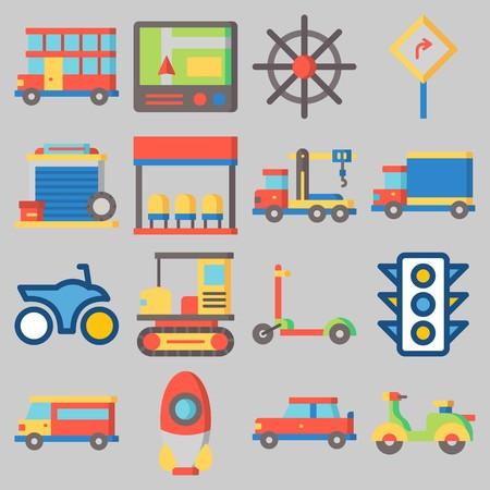 Conjunto de iconos sobre transporte con palabras clave garaje, carretera, cohete, semáforo, parada de autobús y grúa Ilustración de vector