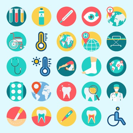 icons set about medical with worldwide, teeth, test tubes, stethoscope, surgeon and yoga. Illustration