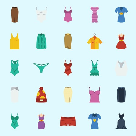 Icon set about women clothes with tank top, skirt, dress, sleeveless, swimsuit and winter hat. 向量圖像