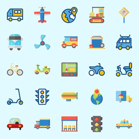 Icons set about Transportation with propeller, plane, gps, scooter, garage and bus stop Stok Fotoğraf - 95587389