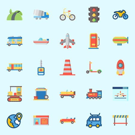 Icons set about Transportation with sport  car, road, road block, scooter, bicycle and boat