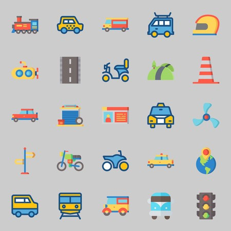 Icon set about transportation with motorbike, car, road, locomotive, taxi and driving license.
