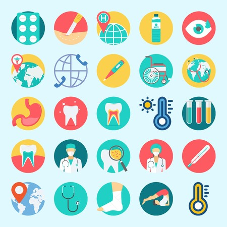 Icon set about medical with tooth, thermometer, water, surgery, sprain and wheelchair. Illustration