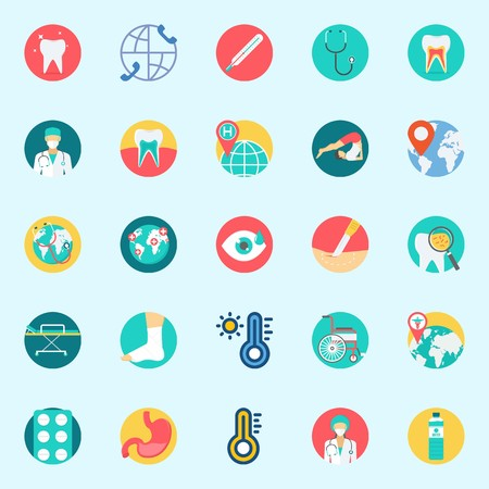 Icon set about medical with stethoscope, visibility, yoga, sprain, teeth and tooth.