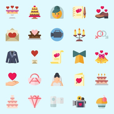 Icon set about wedding with marriage, wedding cake, camcorder, love, cupcake and love letter.