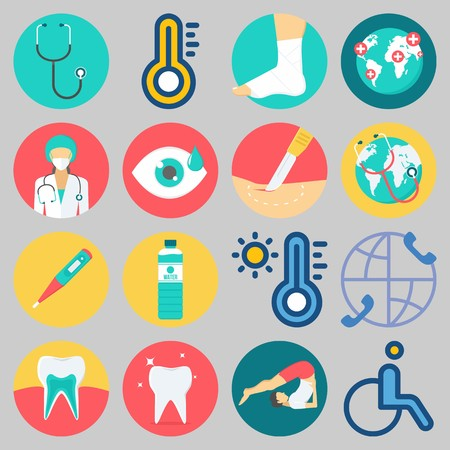 Icon set about medical with water, surgeon, worldwide, surgery, tooth and sprain.