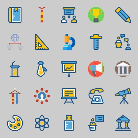 Icon set about school and education with telephone, ruler, microscope, networking and paint palette.
