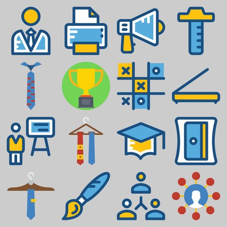 Icon  set about school and education with printer, measuring tool, tie and graduation cap. Çizim