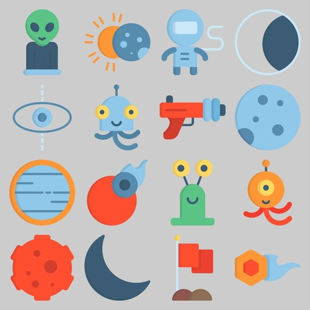 Icon set about Universe with keywords venus, astronaut, planet, alien, meteorite and flag Illustration