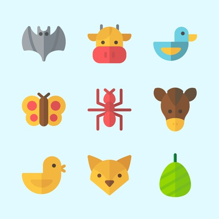 Icons about Animals with bat, butterfly, fox, cocoon, horse and ant