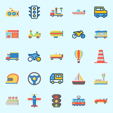 Icons set about Transportation with steering wheel, traffic light, sport  car, boat, tram and plane Illustration