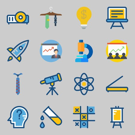 Icons set about School And Education. with projector, test tube and presentation