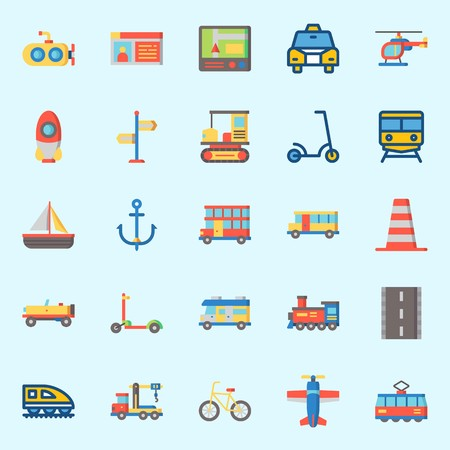 icons set about Transportation. with rocket, locomotive, anchor, tram, submarine and crane