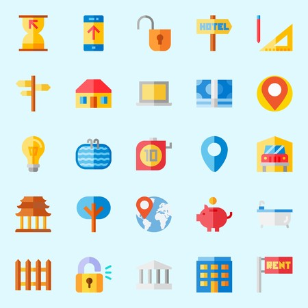 Icons set about Real Assets. with hotel, sand clock, transportation, picket, worldwide and monumental