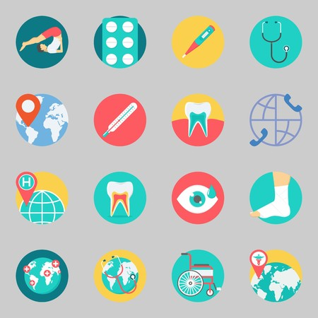 Icons set about Medical. with tablets, visibility and worldwide