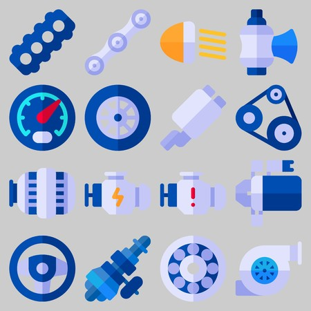 Icon set about Car Engine with keywords valve, car lights, belt, motor, sreering wheel and wheel Illustration