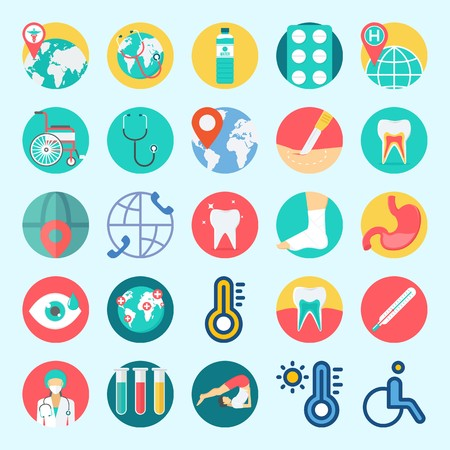 Icons set about Medical with worldwide, surgery, yoga, teeth, wheelchair and tablets