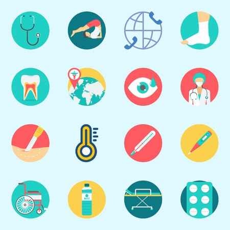 icons set about Medical. with stretcher, sprain, thermometer, stethoscope, surgery and wheelchair