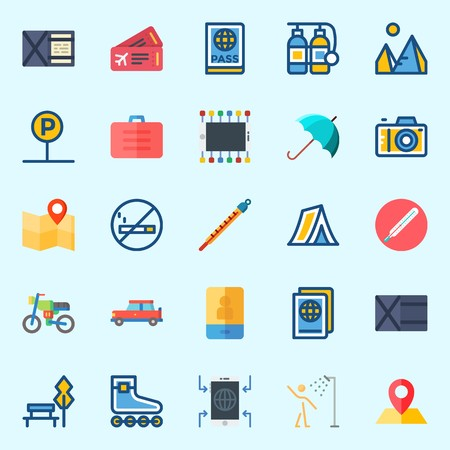 Icons set about Travel with umbrella, park, car, location, passport and plane ticket