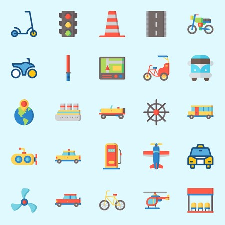 icons set about Transportation. with traffic light, car, plane, bicycle, scooter and van