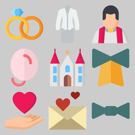 Icon set about Wedding with keywords love, priest, suit, bell, love letter and balloons