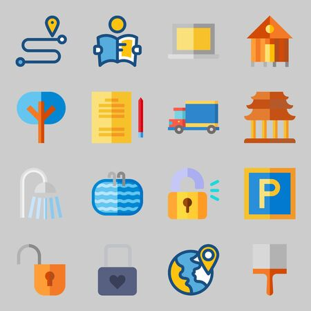 Icons set about Real Assets. with religious, maps and flags and tools and utensils Illustration