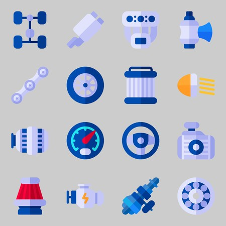 Icons set about Car Engine. with motor, valve and engine