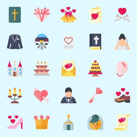icons set about Wedding. with wedding car, cupid, crown, candelabra, bride and bible