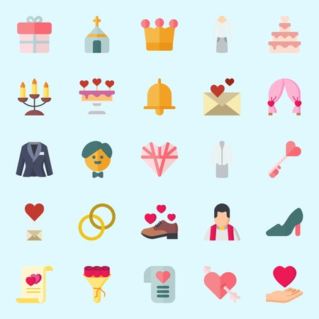 icons set about Wedding. with cupid, love letter, crown, groom, love and marriage