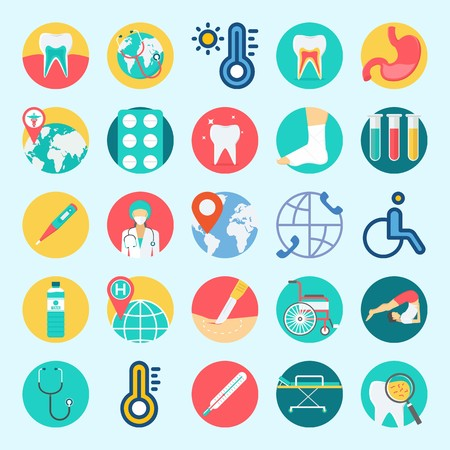 icons set about Medical. with tablets, test tubes, tooth, teeth, surgeon and wheelchair