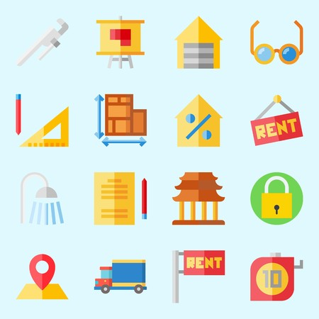 Icon set about Real Assets. with religious, plans, measuring, padlock, reparation and location