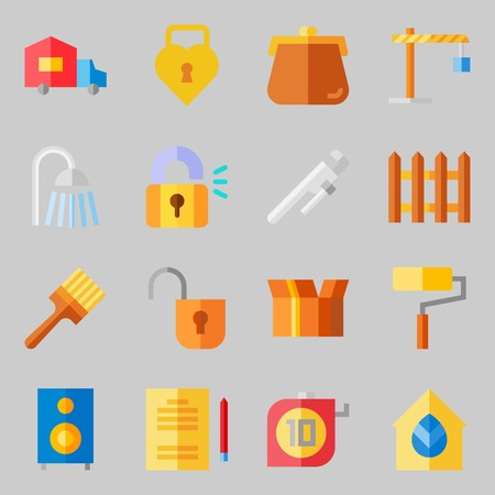 Icons set about Real Assets. with measuring, packaging and single Illustration