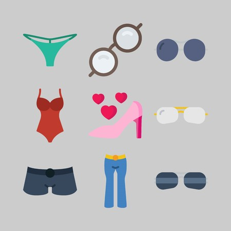 Icon set about Women Clothes. with short, thong and swimsuit