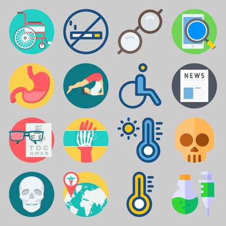 Icon set about Medical process with snellen chart, hot temperature and hand