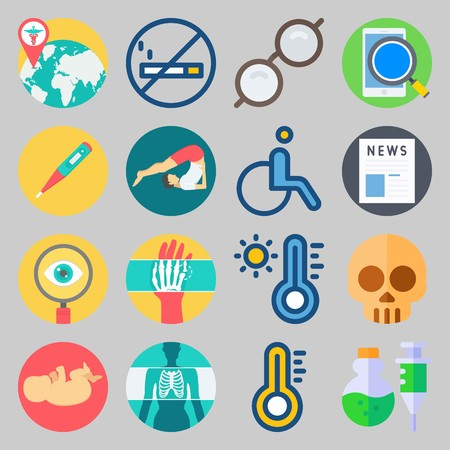 Icon set about Medical process with thermometer, sunglasses and x-ray Stock Illustratie