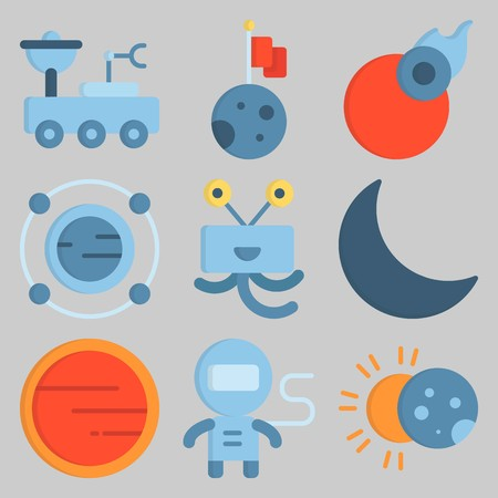 Icon set about Universe like moon, alien and sun