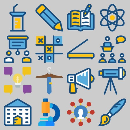 Icons set about School And Education like pencil, telescope and building Çizim
