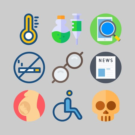 icon set about Medical. with newspaper, poison and sunglasses Illustration
