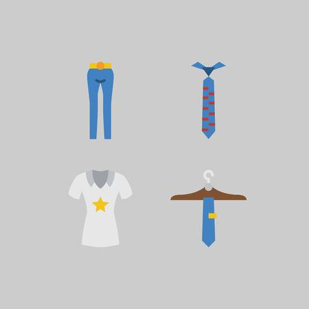 icon set about Man - Clothes. with tie, trousers and shirt Çizim