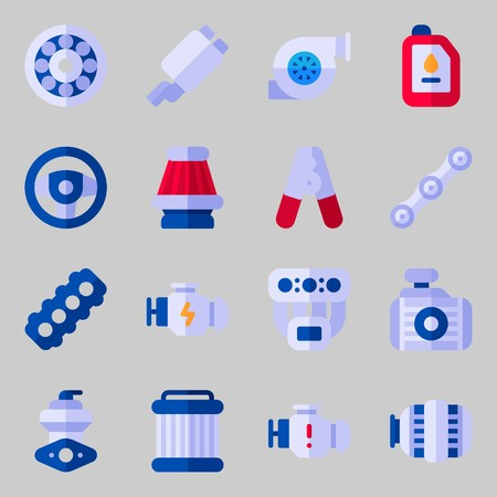 Icons set about Car Engine. with pilers, wheel and engine