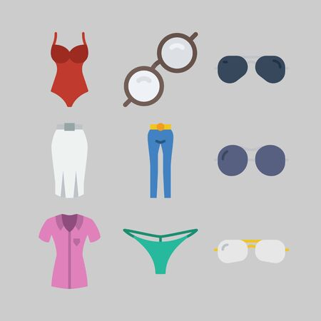 icon set about Women Clothes. with swimsuit, trousers and skirt