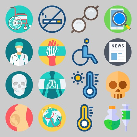 icon set about Medical. with thermometer, hot and sunglasses