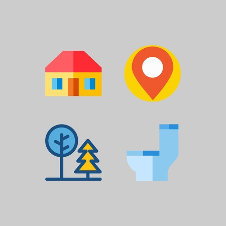 icon set about Travel. with tree, wc and toilet Illustration