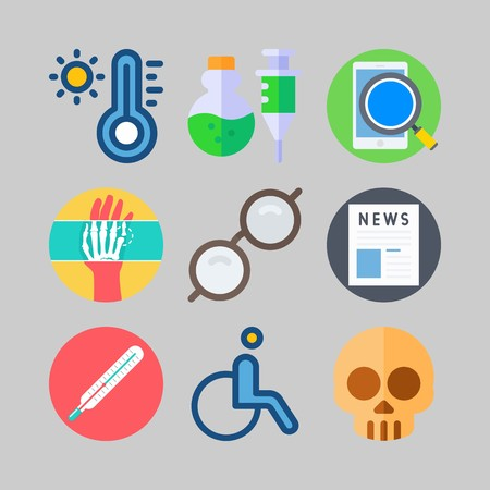 icon set about Medical. with hot, whellchair and skull Stock Illustratie