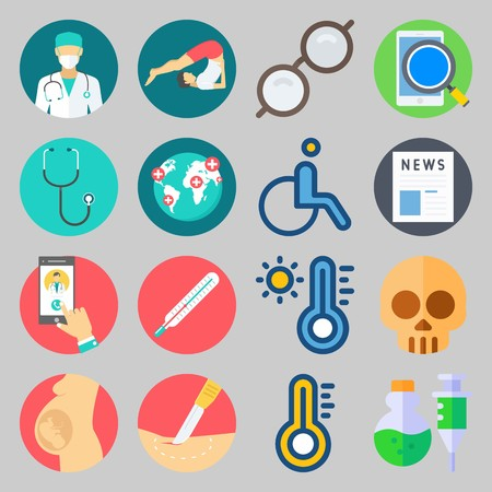 icon set about Medical. with sunglasses, call doctor and doctor