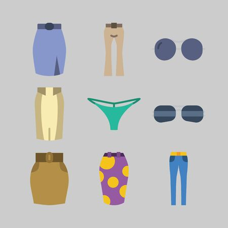 icon set about Women Clothes. with skirt, trousers and sunglasses  イラスト・ベクター素材
