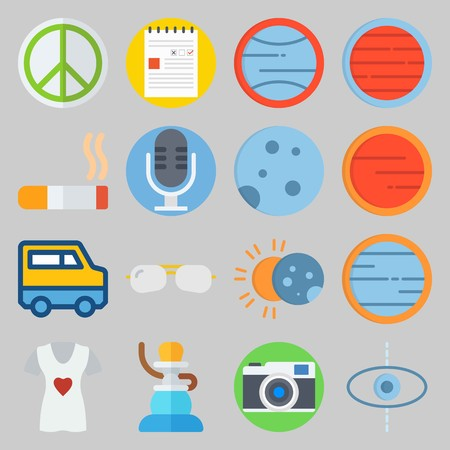 icon set about Hippies. with photo camera, sunglasses and microphone Illustration