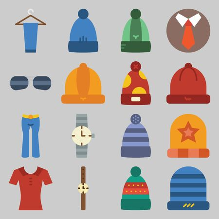 Icon set about Man - Clothes. with peg, hat and red